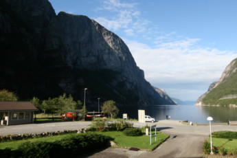 Lysefjorden : comedor en Lysefjorden albergue, Noruega