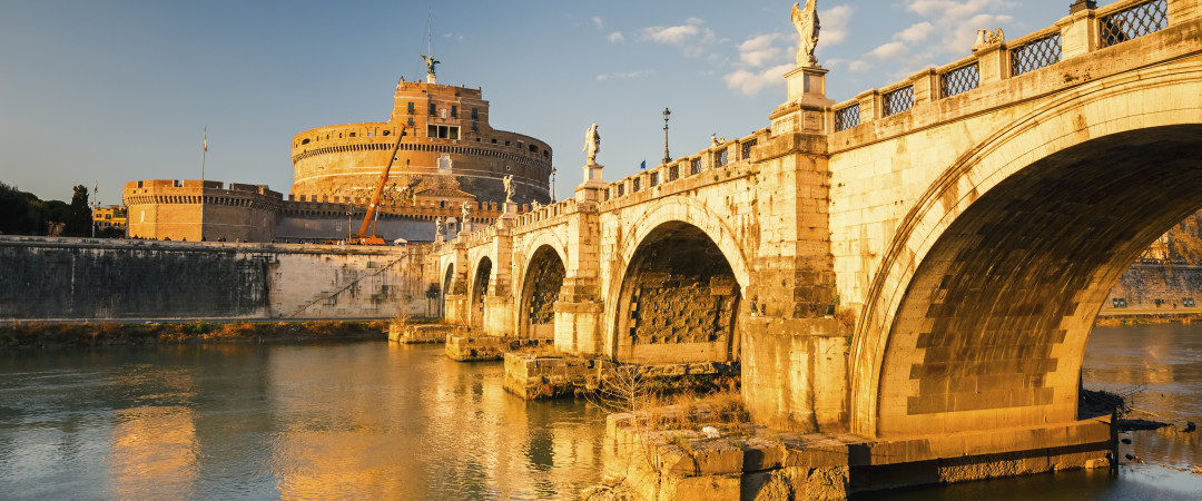 Walk from our hostel to see all the major sights of Rome, such as the Castel Sant'Angelo, former home to popes and prisoners..