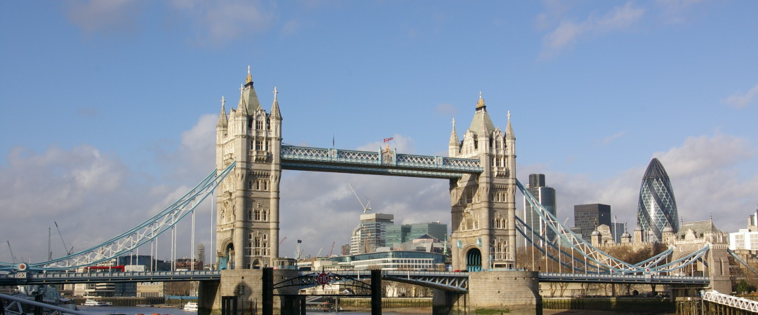Both Tower Bridge and 30 St Mary Axe (The Gherkin) are iconic symbols of London and are easily reachable by the famous London Underground.