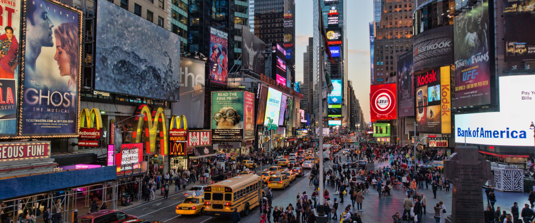 Jump on the subway and experience the bright lights of Times Square, the most vibrant area of New York.