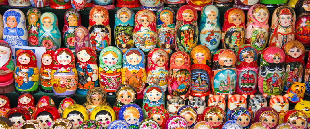 Get to Nevsky Prospekt for Russian hand-made arts, crafts and souvenirs like these colourful Matryoshka dolls.