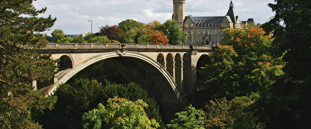 The majestic Adolphe Bridge has become an unofficial symbol of Luxembourg - and a great place to take in the views of the beautiful city.