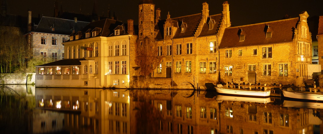 Known as the Venice of the North Bruges can offer incredible scenic night time locations such as Rozenhoedkaai.