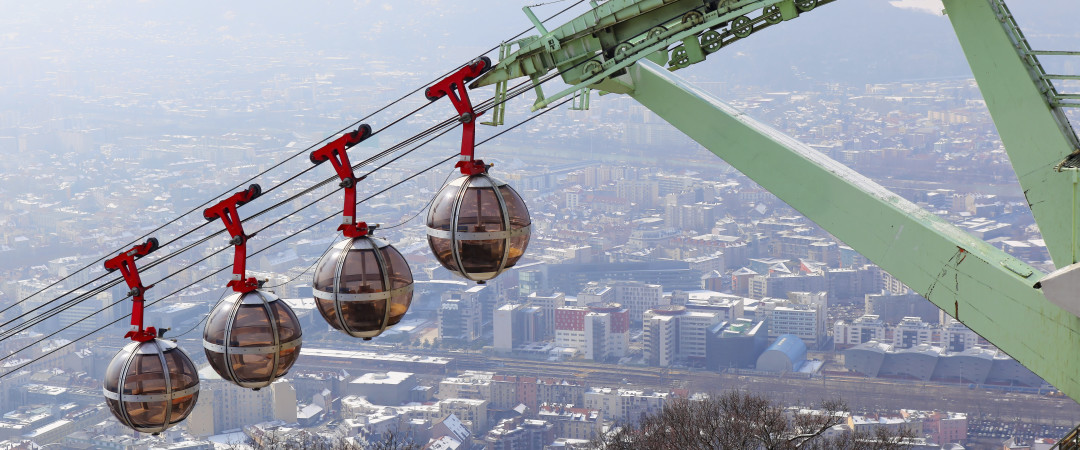 See the Alpine city from above on the Bastille Cable Car, known as 'the bubbles', in Grenoble.