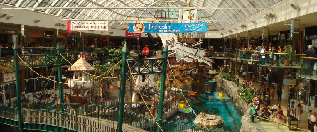 The West Edmonton Mall is the largest shopping centre in North America - an ideal location for shopaholics!