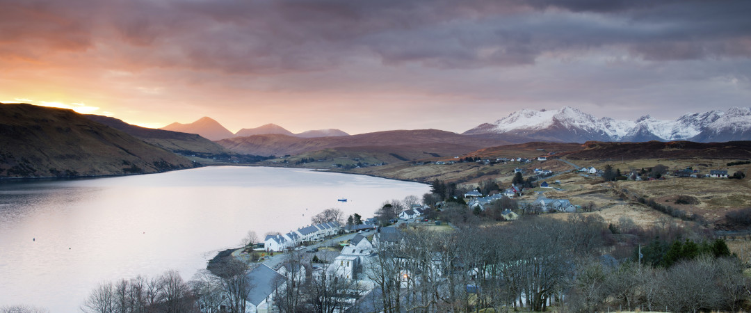 The Isle of Skye in the winter is a perfect place to escape and experience views of tranquil mountains covered in snow.