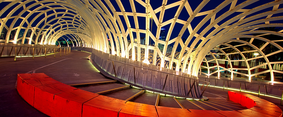Get caught in the web and see one of Melbourne's inspiring architectural designs - the Webb Bridge.