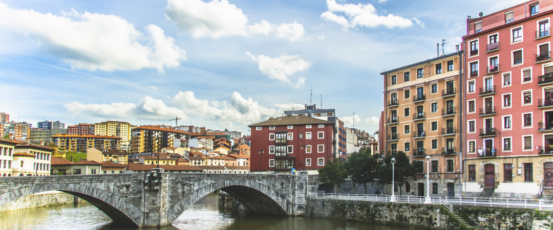 View of Bilbao city with bridge and river in Spain