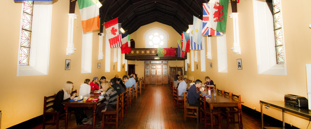 Spend the night in a classroom and grab breakfast in a church.