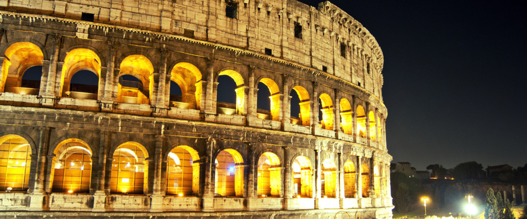 Take an evening stroll past Rome's spectacular coliseum.