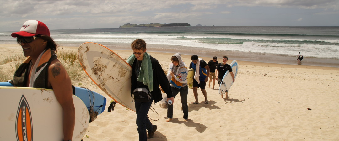 How about some surfing lessons on the Opoutere Beach, New Zealand?
