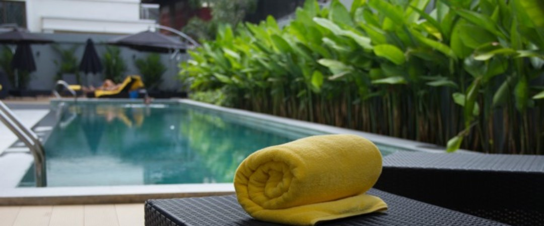 See in 2015 from the pool in our stylish Bangkok hostel.