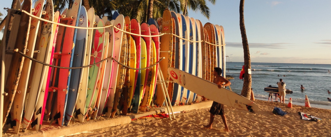 Take a surfing lesson, go on a canoe ride, or go snorkelling along beautiful Waikiki Beach.