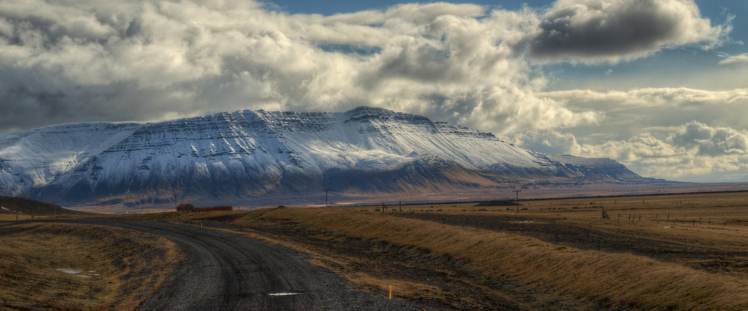 Akrafjall mountain has one of the best views in the West Iceland across Faxaflói Bay.