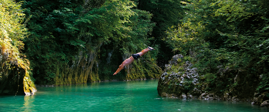 Sava and Soča are mighty rivers with springs in the Julians, and offer diverse water sports as kayaking, rafting and canoeing.