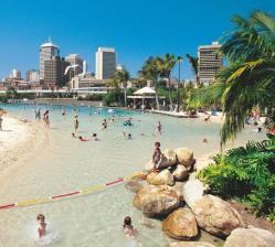 Enjoying the warm Brisbane climate at the South Bank Lagoon