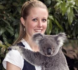 Cuddling the famous Australian Koala