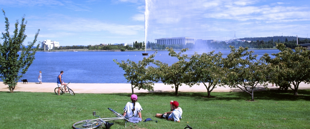 Hire a bike and cycle around Lake Burley Griffin, but make sure you take time to enjoy the view.