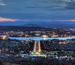 Aerial shot of the Capital, looking towards Parliament House during twilight.