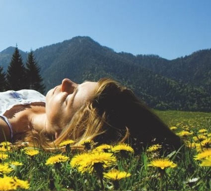 lying down in field