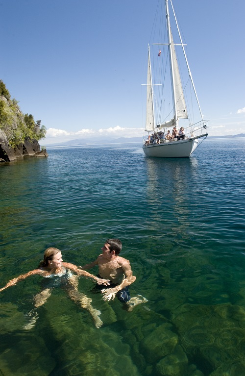Jump in the lake with a scenic cruise on Sail Barbary