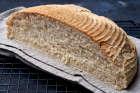 White spelt loaf cut in half