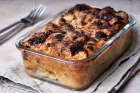 Croissant pudding with chocolate chips