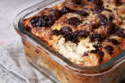 Croissant pudding close up