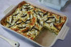 Summer veg lasagne with asparagus, peas and broad beans