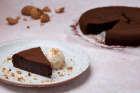 Slice of Chocolate Amaretto Cake with ice cream