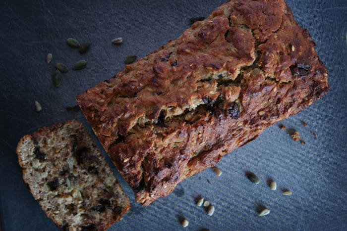 Banana bread with seeds and chocolate chips
