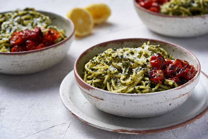 Cavolo nero pesto with spaghetti and slow roasted tomatoes