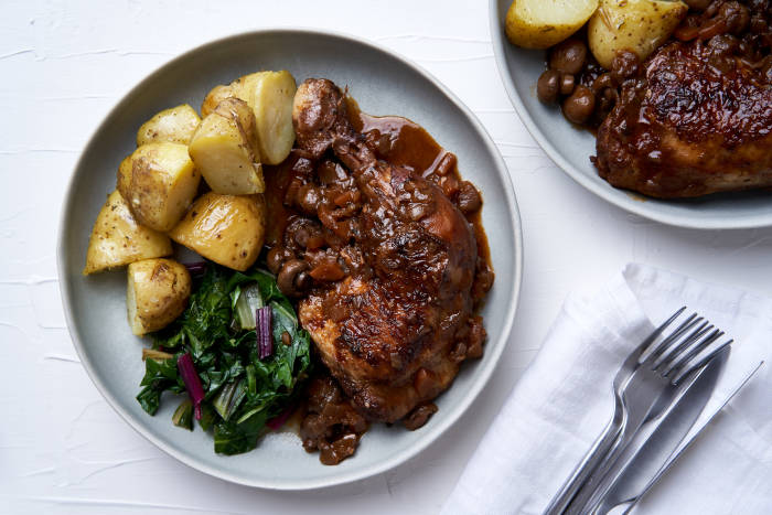 Chicken chasseur, steamed potatoes and rainbow chard