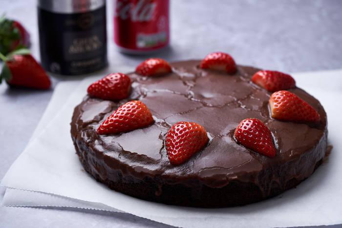 Vegan chocolate cola cake with strawberries