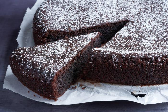 Chocolate olive oil cake, sliced