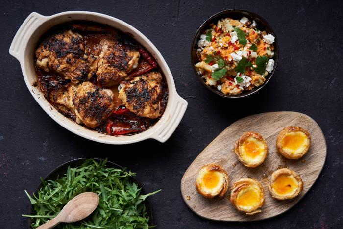 Jamie Oliver's Piri Piri chicken, potatoes, salad and Portuguese tarts