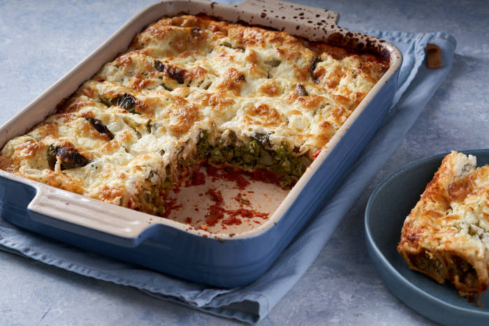 Jamie Oliver's baked cannelloni in dish