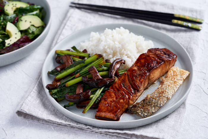 Mirin glazed salmon and vegetables with sesame avocado salad