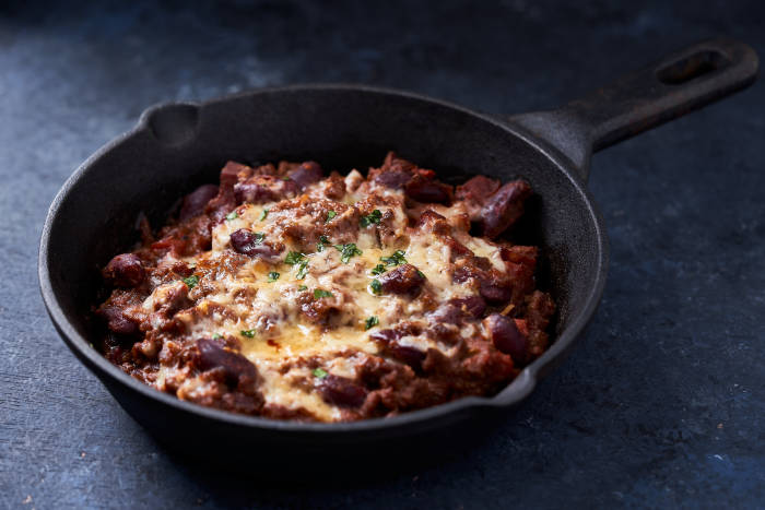 Pan of cheesy chilli