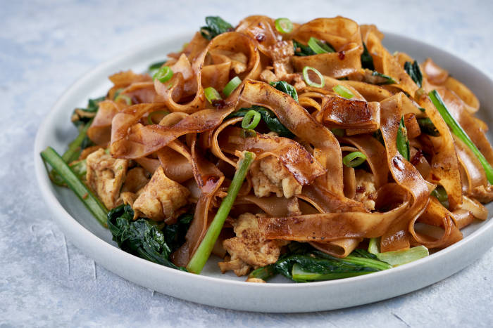 Pad See Ew with choi sum and egg