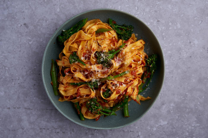 Pasta and broccoli with tomato and anchovy sauce