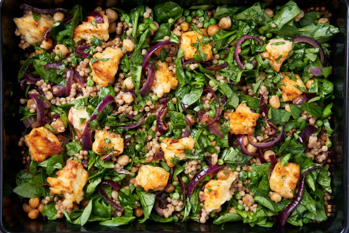 Edit Recipe The Quick Roasting Tin: Halloumi and Red Onion Salad with Giant Couscous