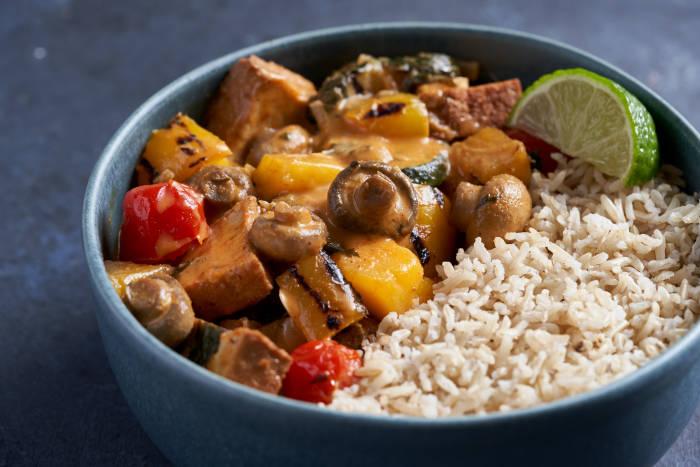 Thai red curry with tofu and Thai basil