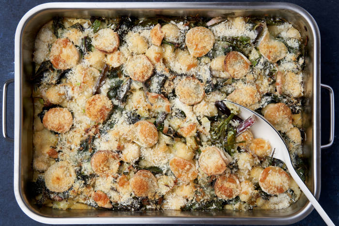 The Quick Roasting Tin: Gnocchi with Leeks, Chard, Broccoli and Cream