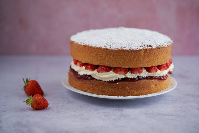 A classic British cake made with fresh cream and strawberries