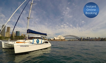 Sydney Harbour: Overnight Catamaran Stay for 2 Adults and 2 Children with Wine and Cheese with Experience Sydney Harbour
