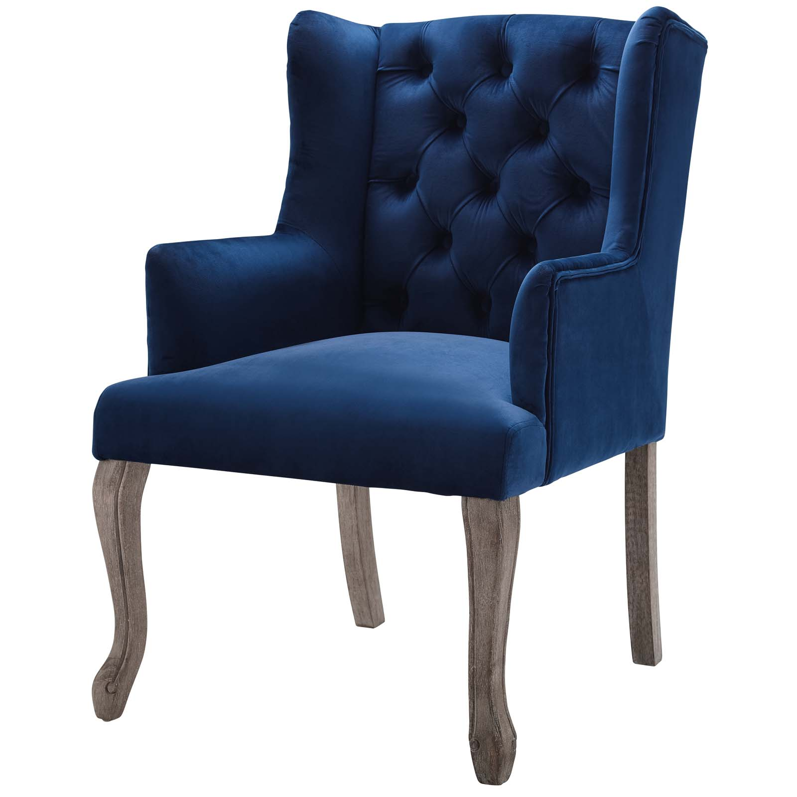 Details About Country Farm Dining Vintage Side Chair Velvet Wood Navy Blue 15577