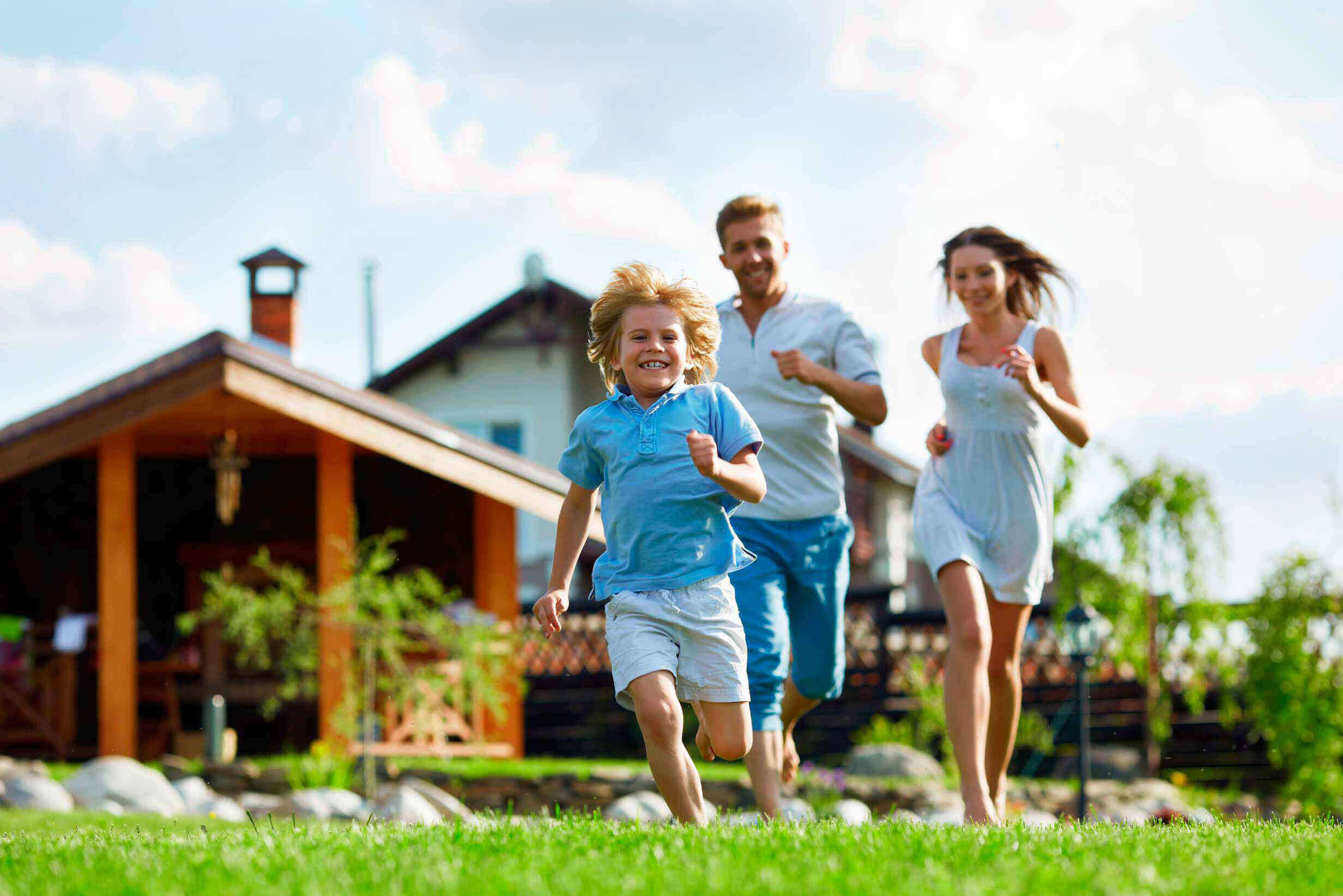 happy child running with parents