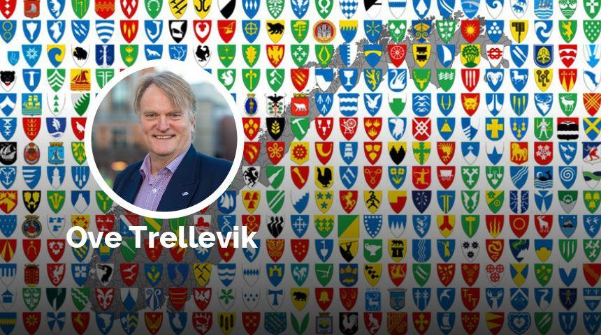 Norske kommunevåpen med Ove Trellevik innfelt. illustrasjon