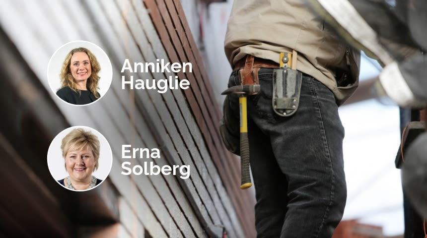 Byggeplass. Erna Solberg og Anniken Hauglie innfelt. Illustrasjonsbilde